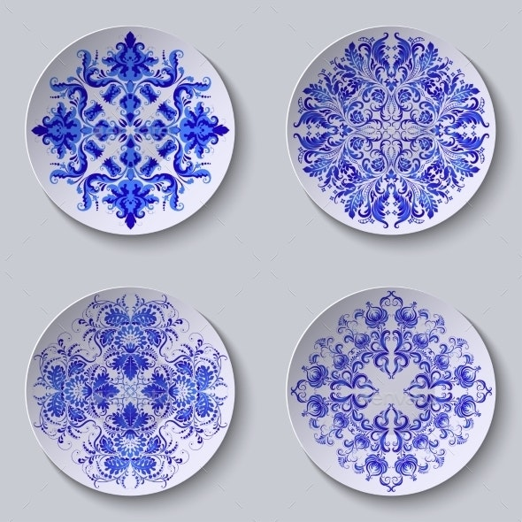 Set of Floral Circular Plates - Patterns Decorative