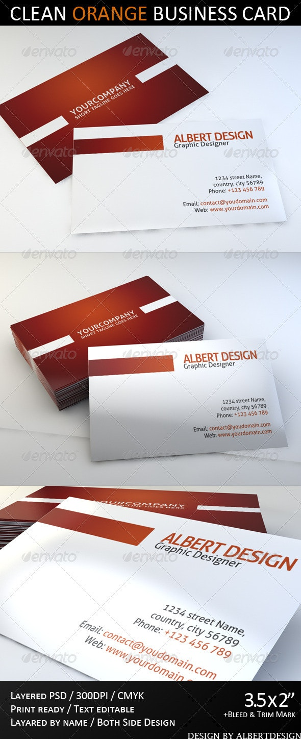 Clear Orange Businness Card - Corporate Business Cards