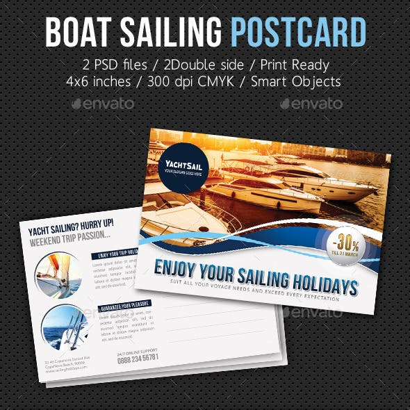 Boat Sailing Postcard Template V01