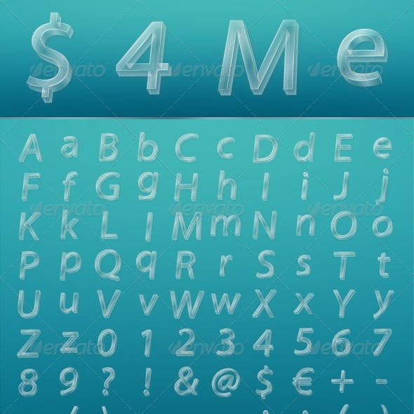 Glassy Letters, Numbers and Signs