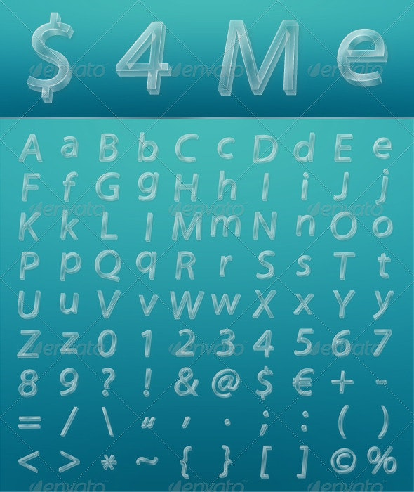 Glassy Letters, Numbers and Signs - Miscellaneous Vectors