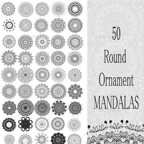 Set of 50 Ornament Round Mandalas