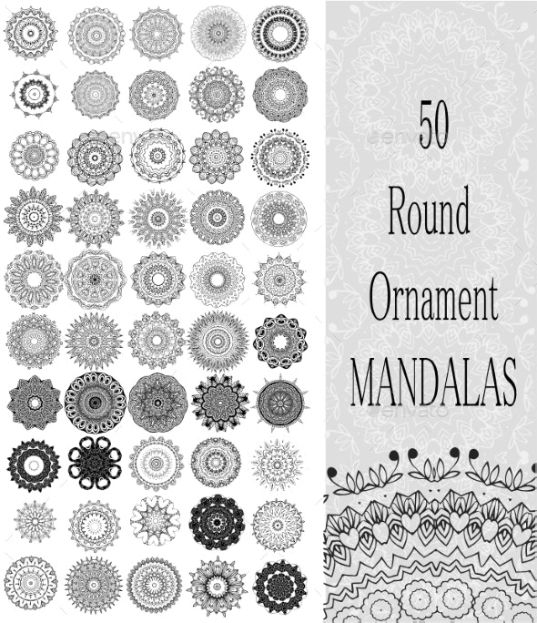 Set of 50 Ornament Round Mandalas - Flowers & Plants Nature