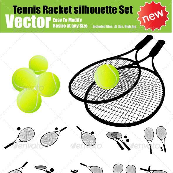 Vector Tennis Racket Silhouette Set