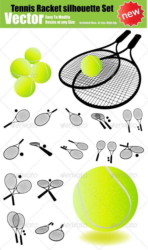 Vector Tennis Racket Silhouette Set - Sports/Activity Conceptual