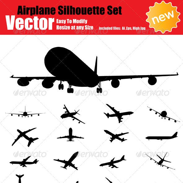 Vector Airplane Silhouette Set