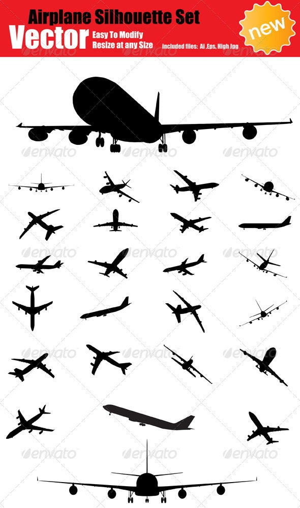 Vector Airplane Silhouette Set - Travel Conceptual
