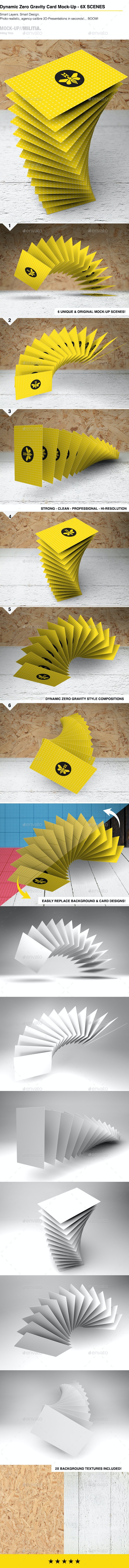 Floating | Flying | Gravity Business Card Mock-Up - Business Cards Print