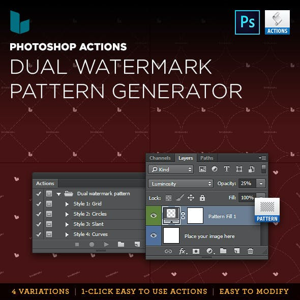 Photoshop Action Dual Watermark Pattern Generator
