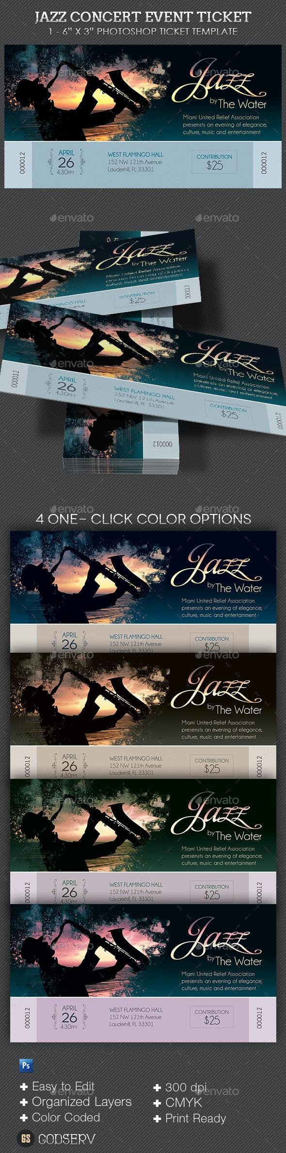 Jazz Concert Event Ticket - Miscellaneous Print Templates