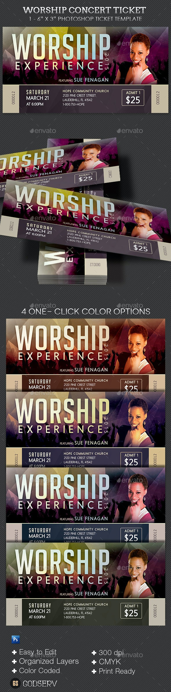 Worship Concert Ticket Template - Miscellaneous Print Templates