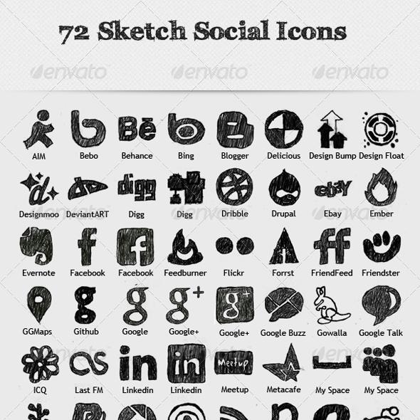 72 Sketch Social Icons