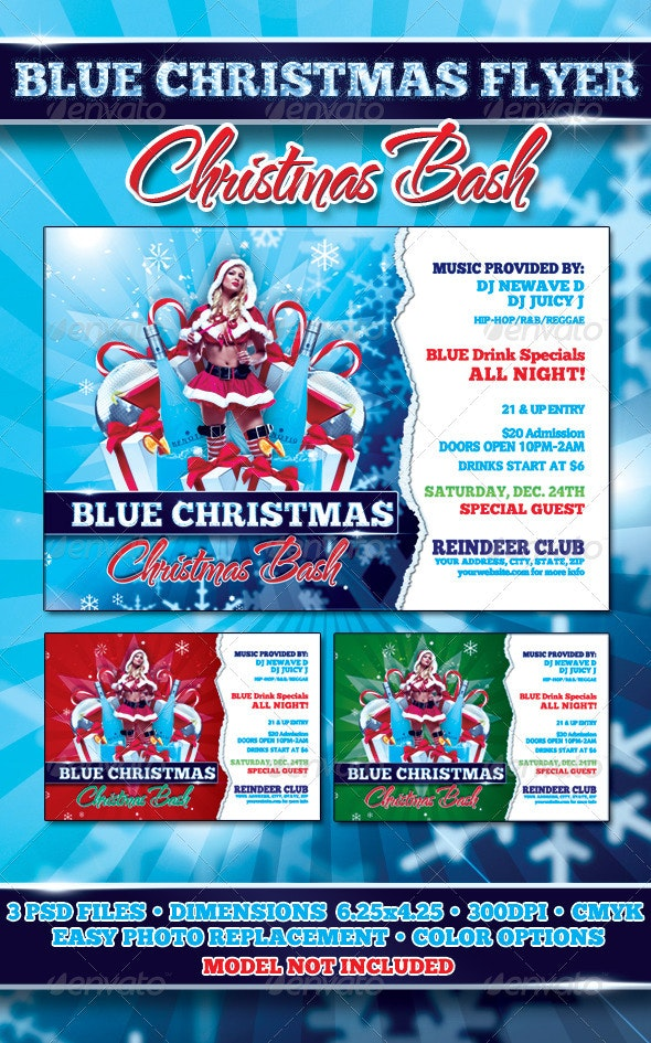 Blue Christmas Flyer Template - Clubs & Parties Events