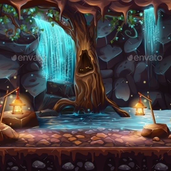 Cave With Waterfall and Magic Tree