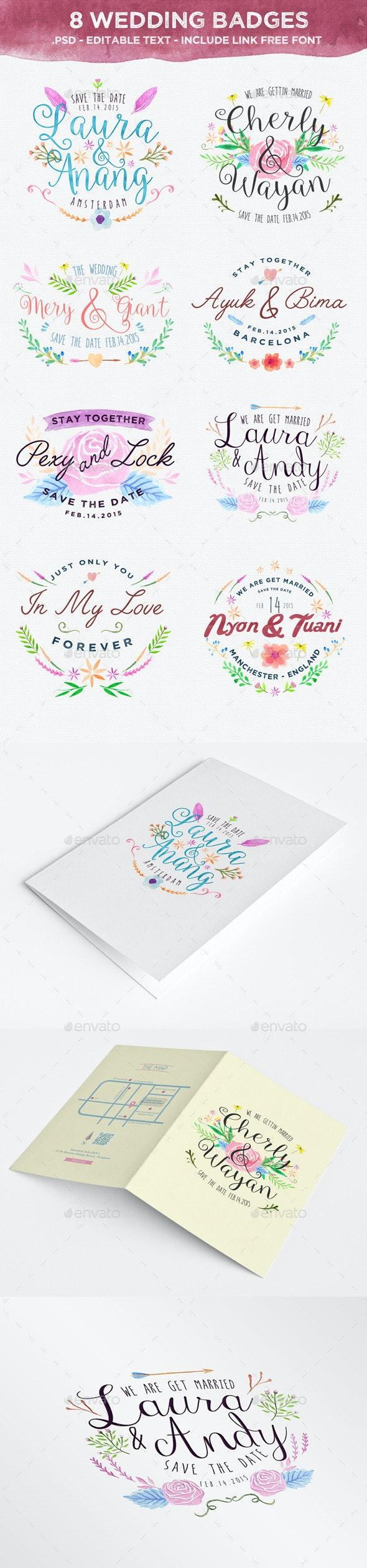8 Wedding Badges - Badges & Stickers Web Elements