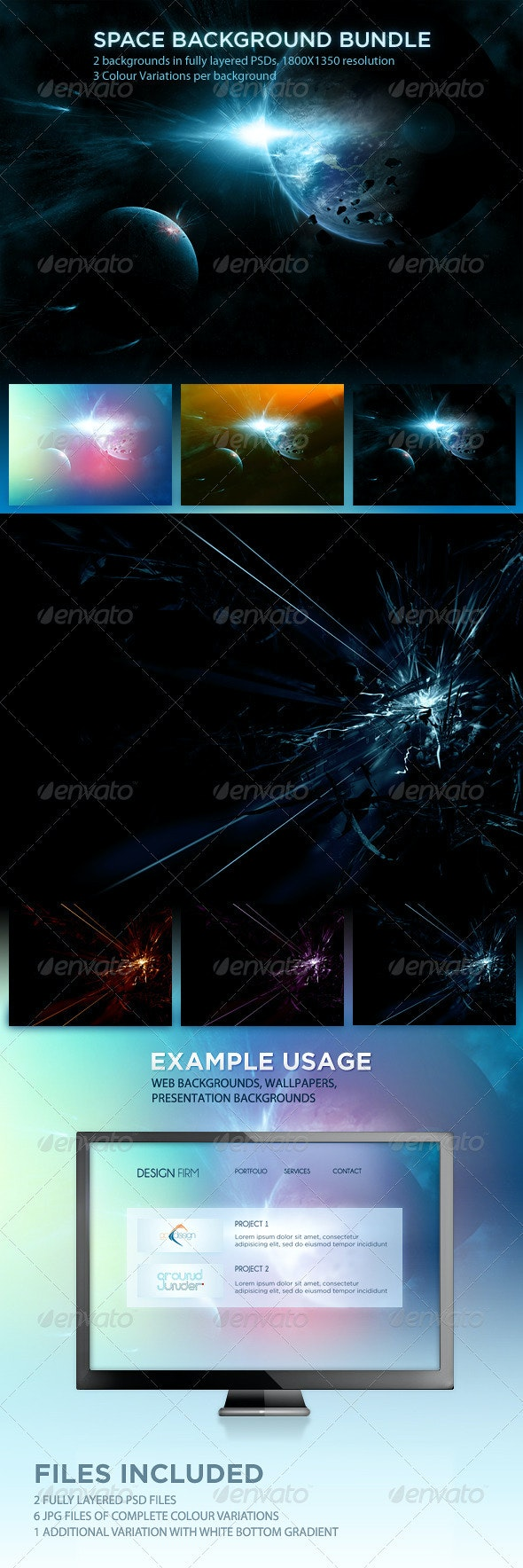 Space Background Set - Tech / Futuristic Backgrounds