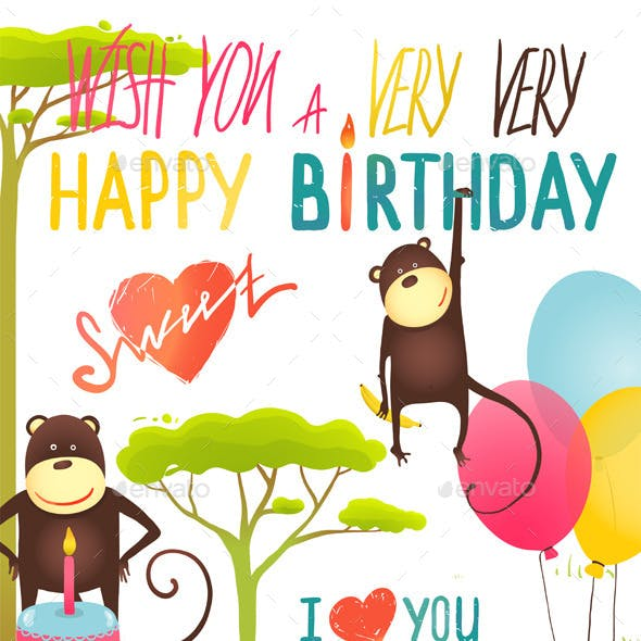 Monkey Fun Happy Birthday Card with Lettering