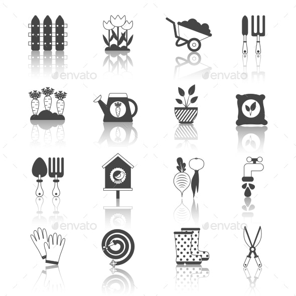 Set of Black and White Isolated Garden Icons Vect