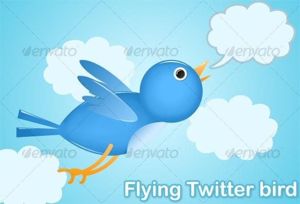 Simple Flying Twitter Bird - Animals Illustrations