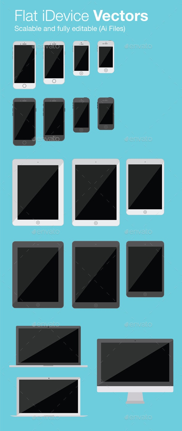 Flat iDevice Vectors - Computers Technology