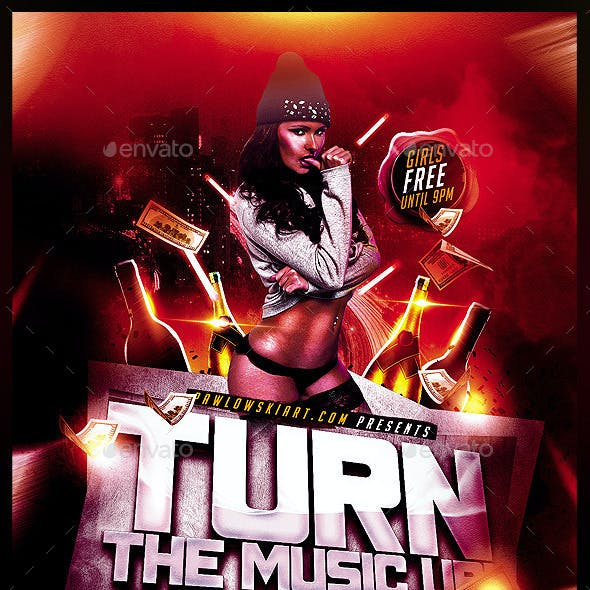 Turn The Music Up Party Flyer Template