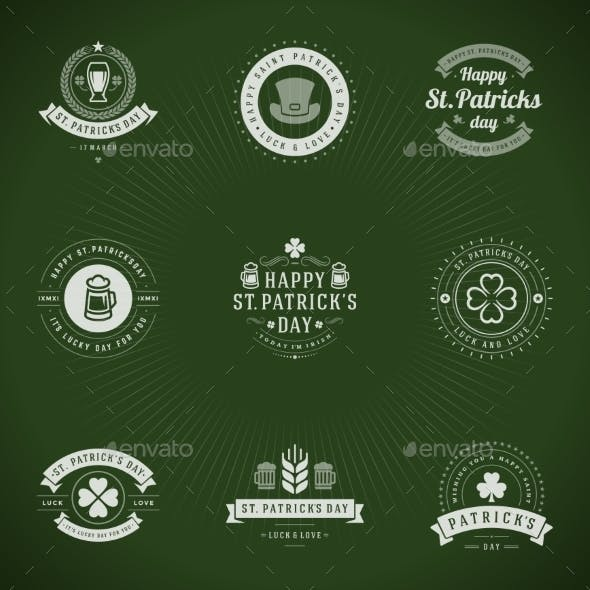 Typographic Saint Patrick's Day Retro Badges