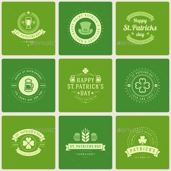 Typographic Saint Patrick's Day Retro Badges