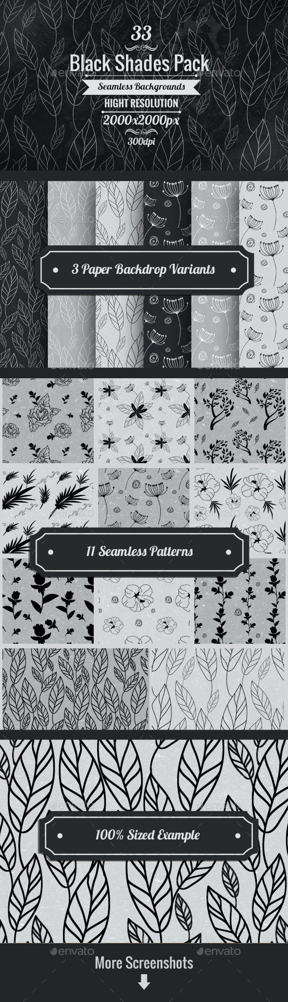 Black And White Floral Paper Backgrounds - Patterns Backgrounds