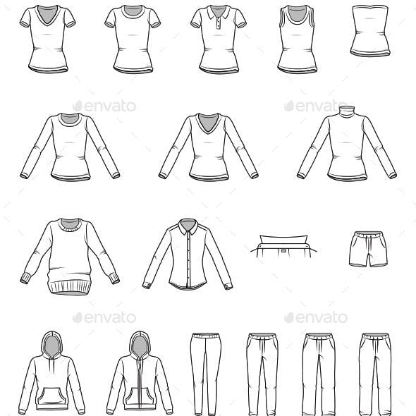 Women's Clothes and Garment Illustrations
