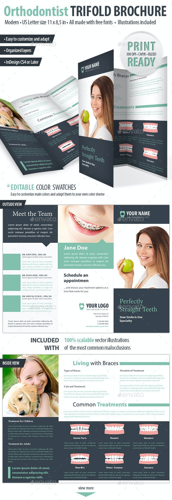 Orthodontist / Dental Trifold Brochure - Brochures Print Templates