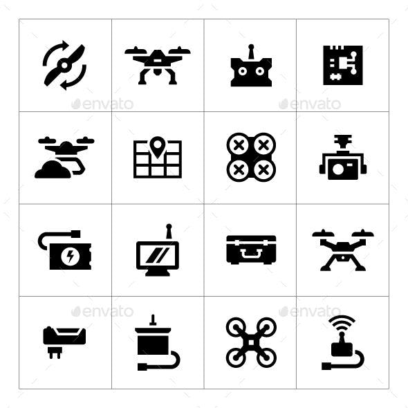 Set Icons of Quadrocopter, Multicopter, Drone