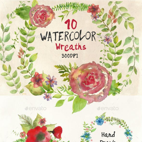 Watercolor Wreathes and Bouquets