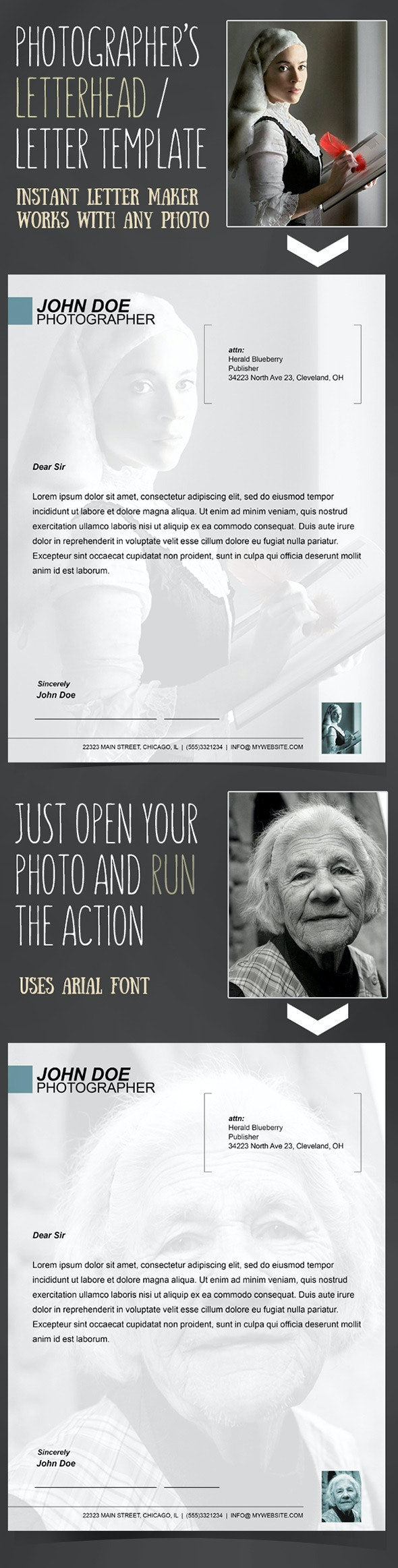 Instant Letterhead for Photographers Action - Photo Effects Actions