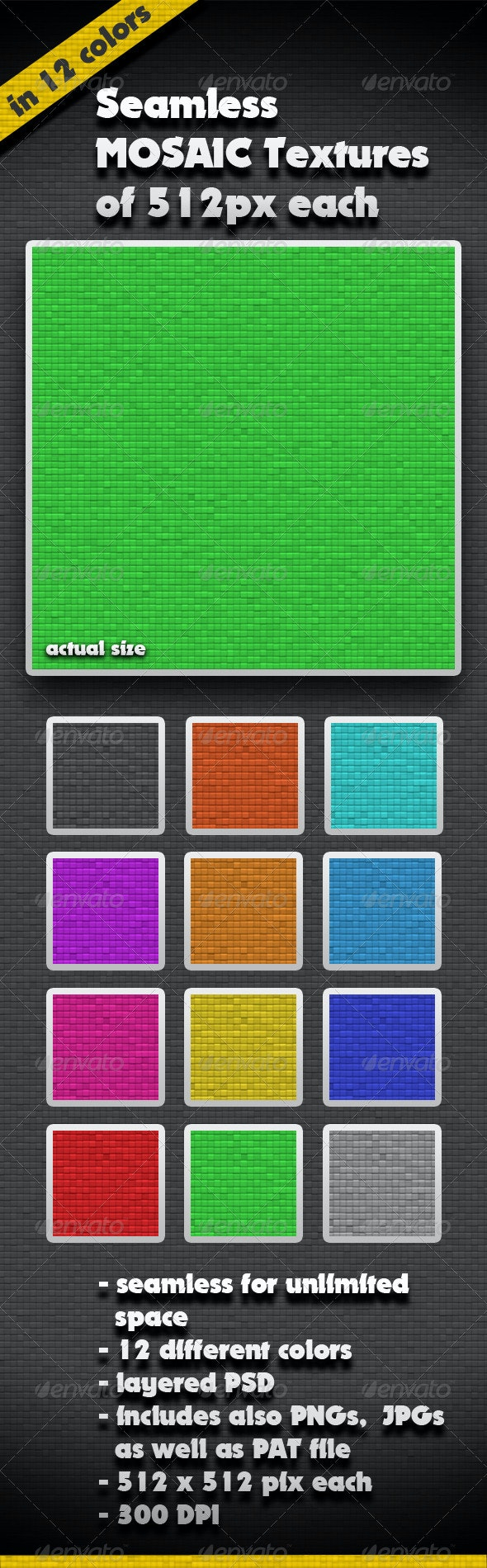 12 Different Color Mosaic Seamless Textures - Miscellaneous Textures