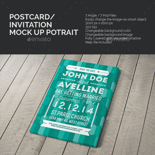 Postcard & Invitation Mock-up Potrait
