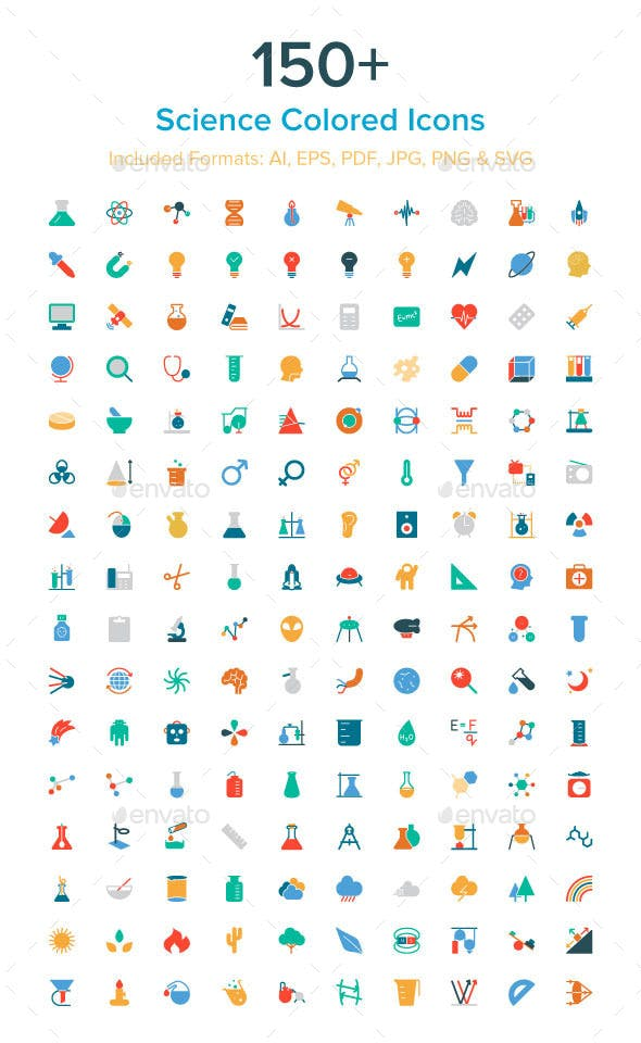 150+ Science Colored Icons