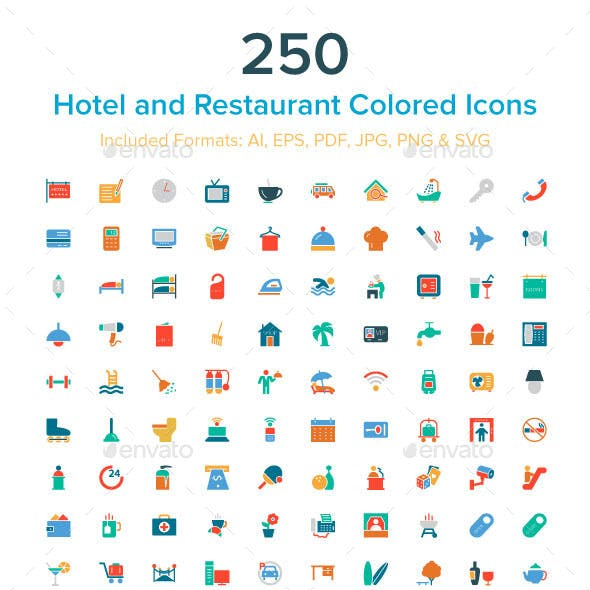 250 Hotel and Restaurant Colored Icons