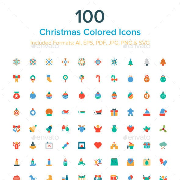 100 Christmas Colored Icons