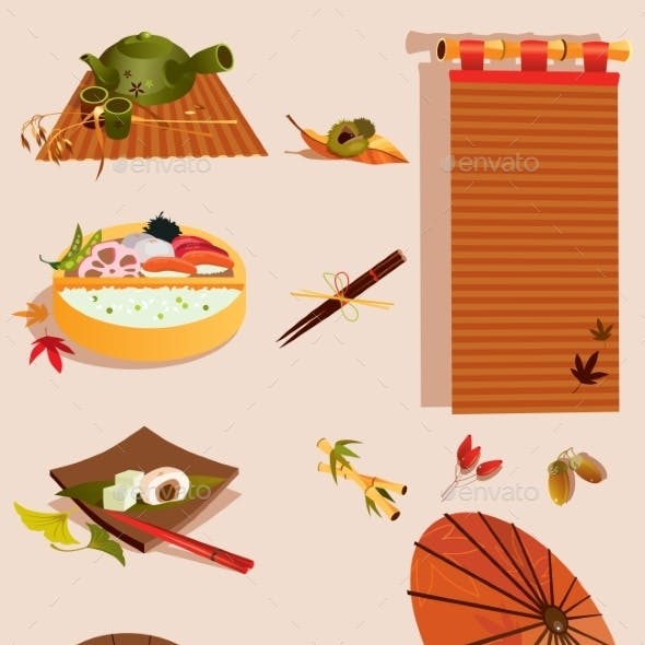 Set of Objects Related to Japanese Culture