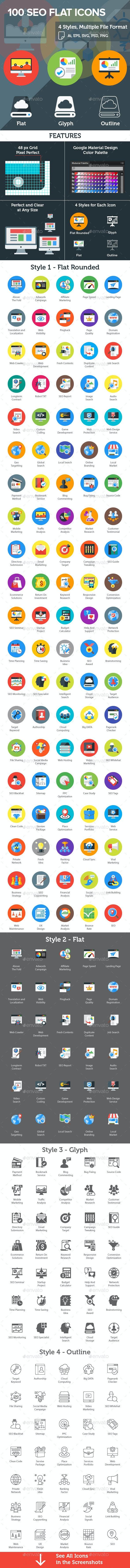SEO Flat Icons - Icons