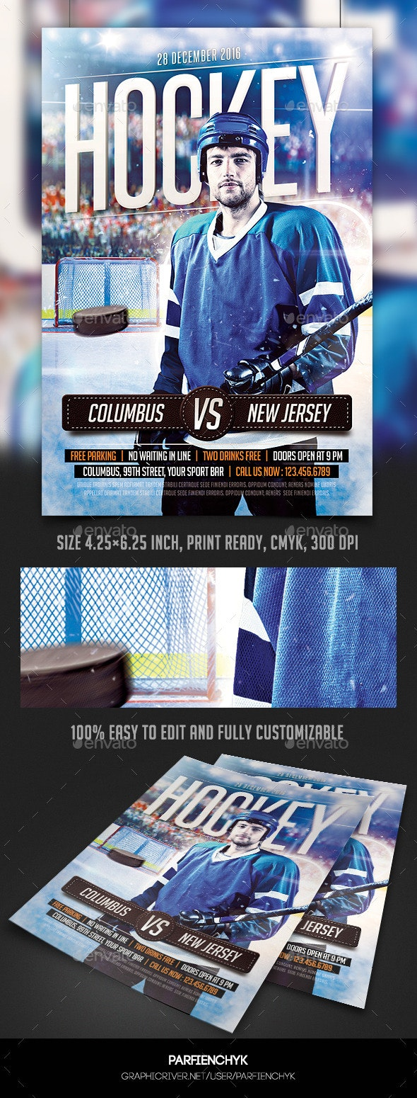 Hockey Match Flyer Template - Sports Events