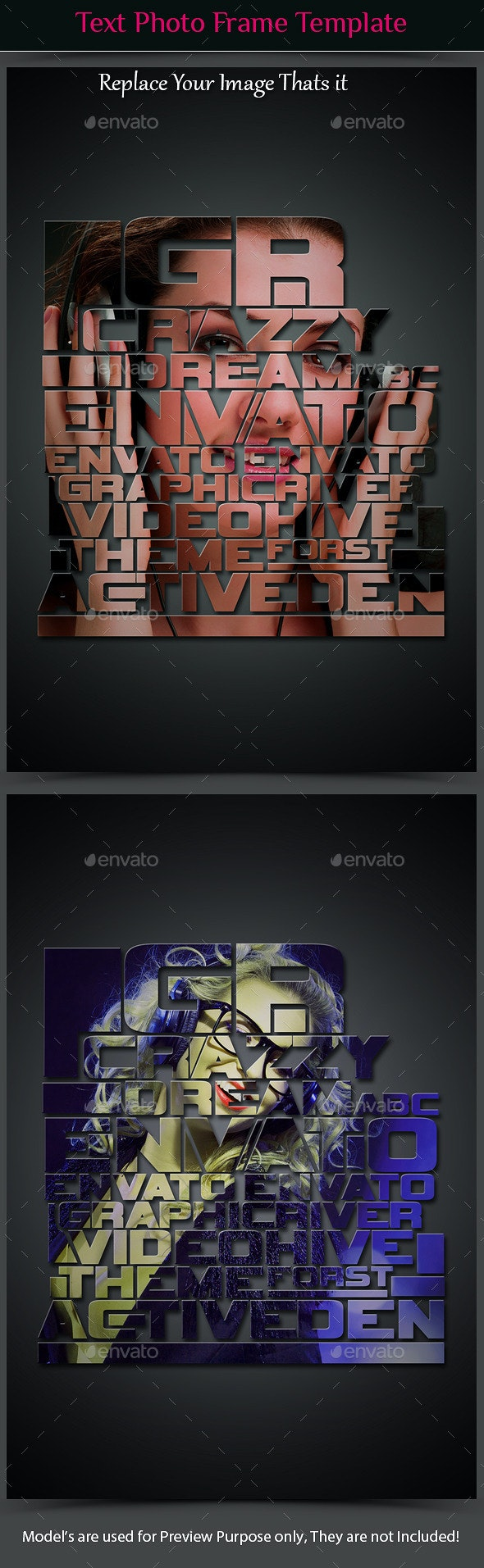 Text Photo Frame Template  - Photo Templates Graphics