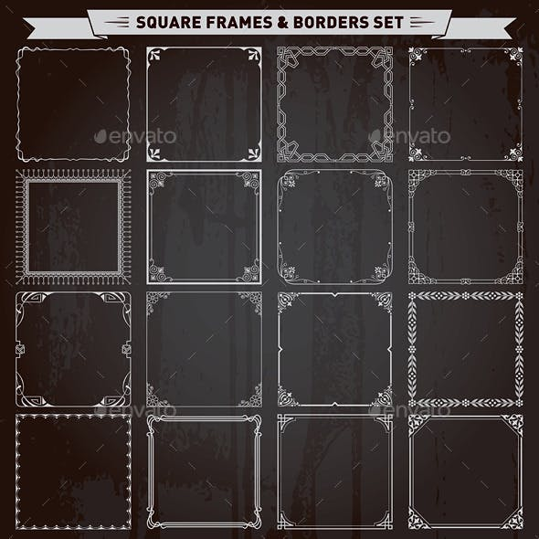 Decorative Square Frames and Borders Set