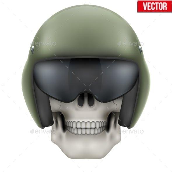 Human Skull with Aircraft Marshall Helmet