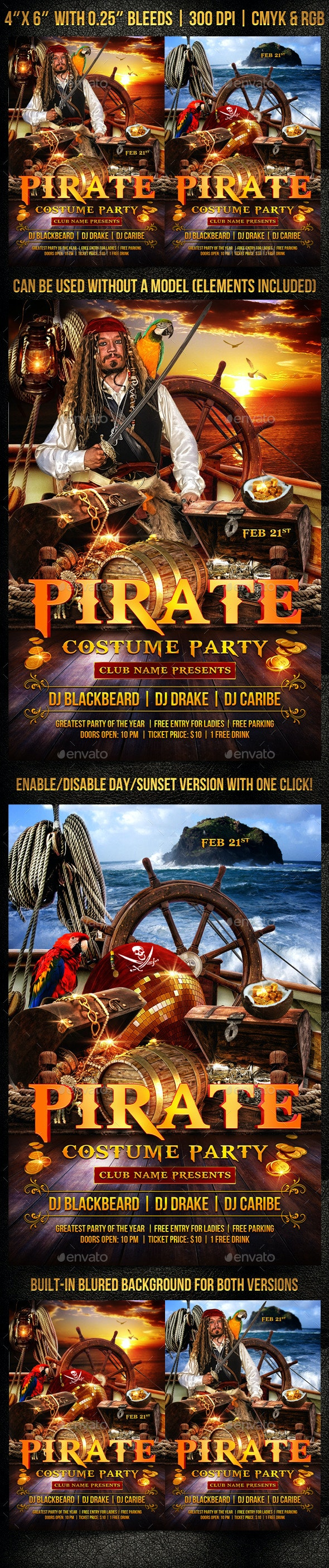 Pirate Costume Party Flyer Template - Clubs & Parties Events