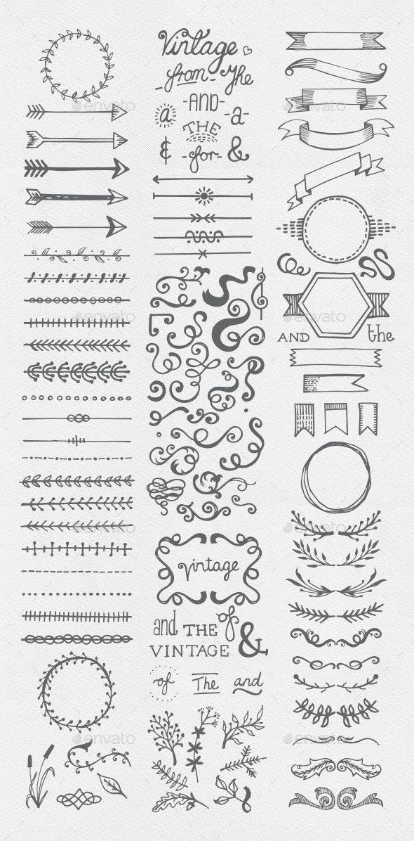 Hand Drawn Vintage Elements Collection - Flourishes / Swirls Decorative