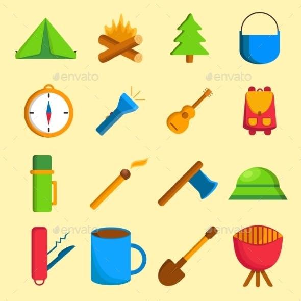 Set of Cartoon Camping Icons