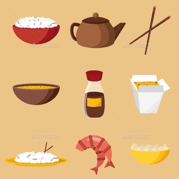 Set of Chinese Cuisine Objects