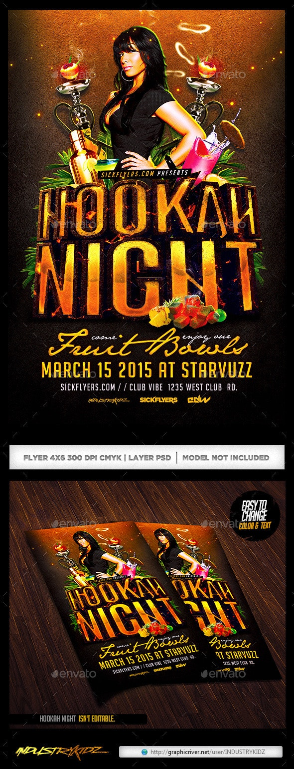 Hookah Night Flyer Template PSD - Clubs & Parties Events