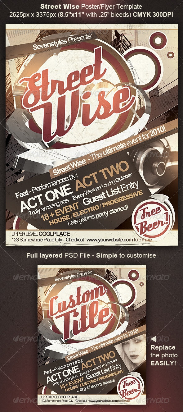 Street Wise Flyer/Poster Template - Clubs & Parties Events